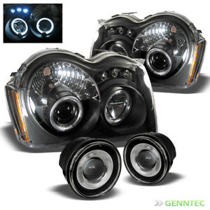 For 05 07 Jeep Grand Cherokee Led Projector Blk Headlights Halo Pro Fog Lamp