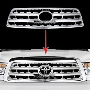 Fits 08 17 Toyota Sequoia Chrome Snap On Grille Overlay Front Grill Cover Insert