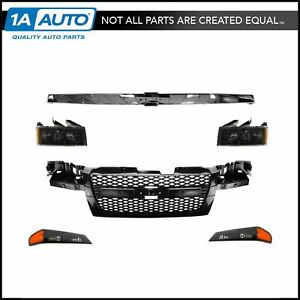 Grille Headlights Parking Lights Kit Set For 04 12 Chevy Colorado
