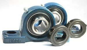 2 Qty 3 4 Pillow Block Bearing ucp204 12 W solid Foot 2 Double Split Collars