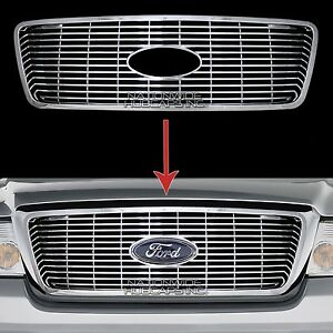 04 08 Ford F150 Chrome Snap On Grille Insert Grill Cover Overlay Horizontal Bars