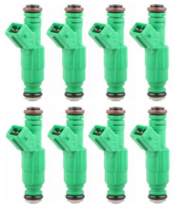 Set 8 42lb Green Fuel Injectors For Gm Ford Tbi Lt1 Ls1 Ls6 V8 440cc Ev1