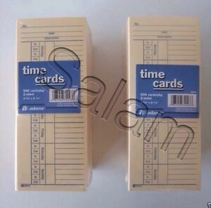 500 X 2 1000 2 Sided Time Cards Employee Punch Payroll Amano Clock Adams 9664a