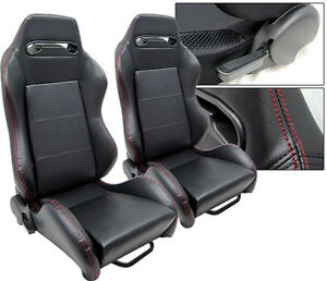 New 2 Black Pvc Leather Red Stitch Slider Racing Seats Reclinable All Dodge