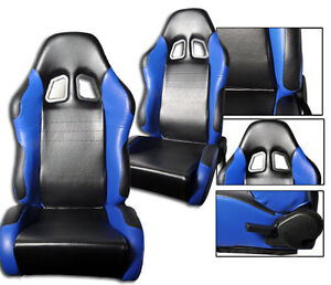New 2 Black Blue Pvc Leather Racing Seats Reclinable