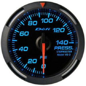 Defi Racer Oil Fuel Pressure Gauge 0 To 140psi 52mm W Blue Led Df06601 New
