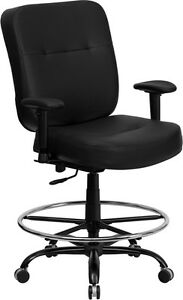 Hercules 400 Lb Cap Black Leather Drafting Stool W Arms Extra Wide Seat