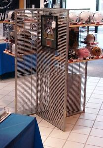 Multi Side Retail Display Fixture Metal Slats Gray With Rolling Base