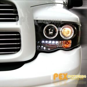 New For 2002 2005 Dodge Ram 1500 2500 3500 Halo Projector Led Headlights Black