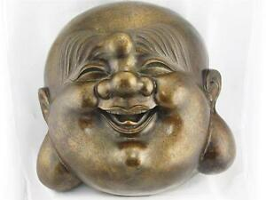 Rare Vintage Very Large Bronze Laughing Buddha Hand Made Excellent Condition