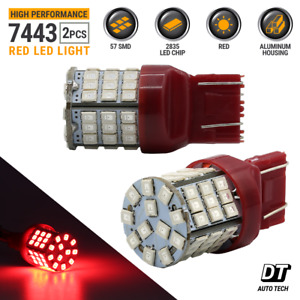 7443 Led Brake Light Bulbs Red Tail Rear Stop High Power Tail Lamp Pair 40w