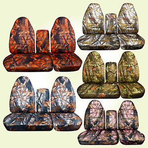 Fits 96 03 Ford F150 40 60 Hiback Seat Camouflage Car Seat Covers console Cover
