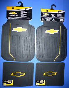 Chevy Elite Logo Front Rear Rubber Floor Mats 4 Pcs Set Car Truck Suv Vans