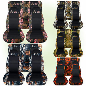 Cc Fit Jeep Wrangler Yj Front Rear Camo Car Seat Covers Blk Center Wit