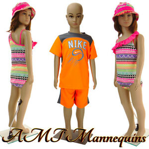 Girl boy Full Body Mannequins stand Head Arms Turn 1 Child Manikin Cb1 1wig