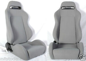 New 1 Pair Gray Cloth Racing Seats Reclinable W Sliders All Ford Mustang
