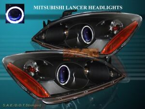 2004 2005 2006 Mitsubishi Lancer Projector Headlights Black One Halo Ccfl