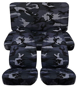 Front Hiback Back Car Seat Covers Camo Gray Fits Cherokee Sport Se 1997 2001