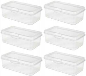 6 Pack Sterilite 18058606 Plastic Fliptop Latching Storage Box Container Clear