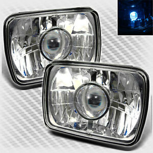 For 7 X 6 7x6 Chrome Projector Headlights Lamp Head Lights Light Pair Set