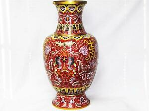 Beautiful Vintage Extra Large Chinese Cloisonne Vase 2 6 Feet Tall Hand Done