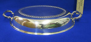 Vintage Silverplate Replacement Lid Cover Dome Oval Shape 2 Handles Leaf Design