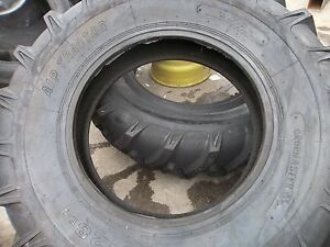 Two New 16 9x28 John Deere 8 Ply R 1 Bar Lug Rear Farm Tractor Tires