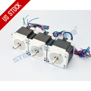 Us Ship 3pcs Nema 23 Cnc Stepper Motor 179oz in 1 26nm Bipolar Diy Hobby Cnc