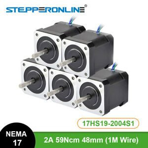 Us Ship 5pcs Nema 17 Stepper Motor Nema17 84oz in 59ncm 4 lead 3d Printer Cnc