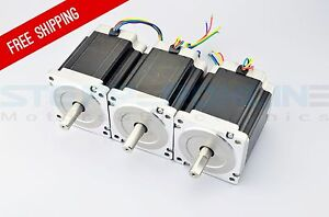 Us Ship 3pcs Nema 34 Cnc Step Motor Dual Shaft 1204oz in 8 5nm Cnc Router Kit