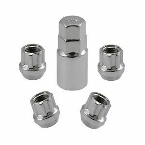 Chrome Open End Locking Lug Kit 14x1 5 Threads 4 Lugs 1 Key Wheel Locks