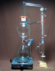 Essential Oil Steam Distillation Kit lab Apparatus w hot Stove graham Condenser