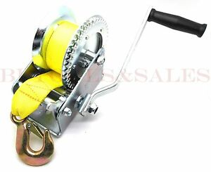 2000lb Hand Winch Hand Crank Strap Heavy Duty Winch Atv Jet Ski Trailer Boat New