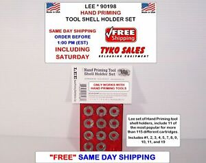 90198 * LEE HAND PRIMING TOOL SHELL HOLDER SET * 11 OF MOST POPULAR SIZES * NEW!