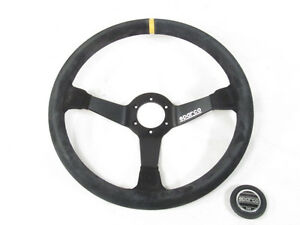 Sparco R368 Steering Wheel 380mm Black Suede 65mm Dish W yellow Centering Stripe