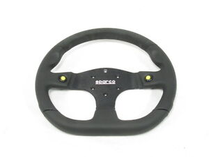 Sparco L999 Steering Wheel 330mm Alcantara Leather Flat Dish W Thumb Horn Button
