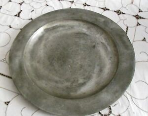 Large 16 Inch Pewter Charger Plate 1800s German Or English No Mark