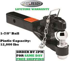 Tow Ready Pintle Hook Combo 12 000 Lbs W 1 7 8 Ball Fits 2 Hitch Receivers