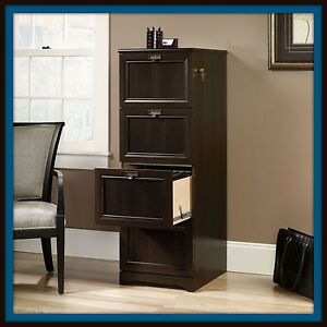 Filing Cabinet Four Drawer Wood Home Office Storage Vertical Files Lock