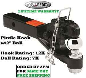 Tow Ready Pintle Hook Combo 12 000 Lbs W 2 Ball Fits 2 Hitch Tow Receivers