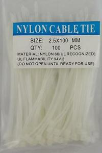 4 White Nylon Cable Tie Zip Heavy Duty Plastic Wire Pack Of 100pcs