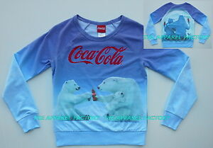 NEW Licensed Coca Cola Love Bear Juniors sweatshirt sweater valentine soul mate