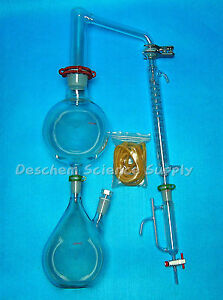 Glass Essential Oil Steam Distillation Apparatus graham Condenser w clamps
