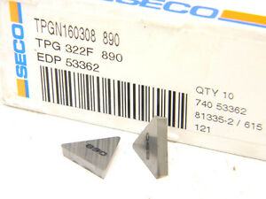 10 New Surplus Carboloy Seco Usa Tpg 322 f 890 Carbide Inserts tpg 160308
