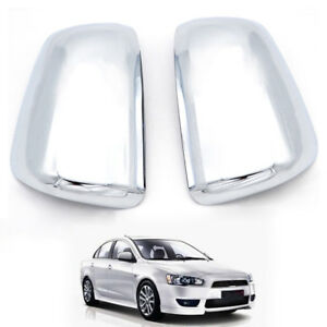Chrome Door Side Mirror Covers 2pcs Fit For Mitsubishi Lancer 2007 2015