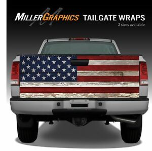 American Flag Vintage Wood Truck Tailgate Vinyl Graphic Decal Wraps