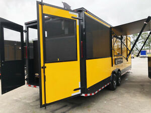 26 Yellow With Black Trim Concession Food Trailer smoker Installed