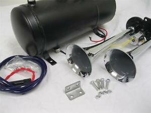 Loud Dual 2 Air Train Horn Kit Semi Truck Boat Chrome Horns 120 Psi Compressor