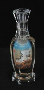 Vintage Chinese Octagonal Inside Painted Crystal Vase W Cranes