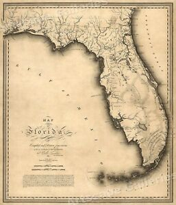 Florida 1823 Historic Decorative Wall Map 16x20